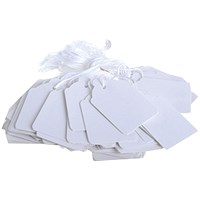 Strung Ticket 21x13mm White (Pack of 1000) KF01615