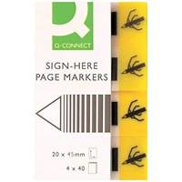 Q-Connect Quick Signature Markers 20 x 45mm Yellow (Pack of 160) KF01979
