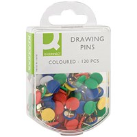 Q-Connect Drawing Pins Coloured (Pack of 1200)