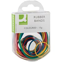 Q-Connect Rubber Bands Assorted Sizes Coloured 15g (Pack of 10)