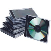 Q-Connect CD Jewel Case, Clear, Black, Pack of 10