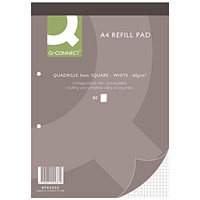 Q-Connect Refill Pad, A4, Quadrille Ruled, 2 Holes, Head Bound, 80 Leaf, Pack of 10