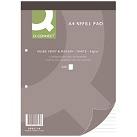 Q-Connect Refill Pad, A4, Ruled Feint & Margin, 2 Holes, Head Bound, 200 Leaf, Pack of 5