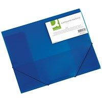 Q-Connect Elasticated Folder 3 Flap A4 Blue