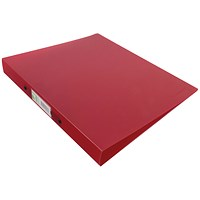 Q-Connect A4 Plastic Ring Binder, 2 O-Ring, 25mm Capacity, Frosted Red