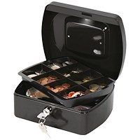Q-Connect Cash Box 8 Inch - Black