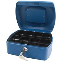 Q-Connect Cash Box 8 Inch - Blue