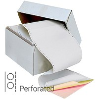 Q-Connect Computer Listing Paper, 3 Part, 11 inch x 241mm, Perforated, White,Yellow & Pink, Box (700 Sheets)