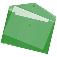 Q-Connect A4 Document Folders, Green, Pack of 12