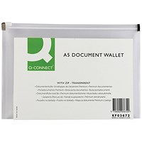 Q-Connect A5 Document Zip Filing Bags, Seal, Pack of 10