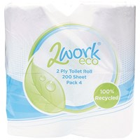 2Work Recycled Toilet Roll, 200 Sheet Rolls, Pack of 36