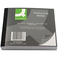 Q-Connect Triplicate Book, Ruled Feint, 102x127mm