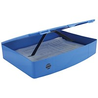 Q-Connect Plastic Box File, 78mm Spine, Foolscap, Blue