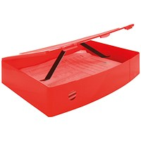 Q-Connect Plastic Box File, 78mm Spine, Foolscap, Red