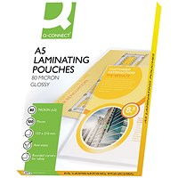 Q-Connect A5 Laminating Pouches, Thin, 160 Micron, Glossy, Pack of 100