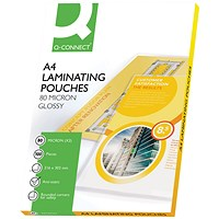 Q-Connect A4 Laminating Pouches, Thin, 160 Micron, Glossy, Pack of 100