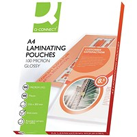 Q-Connect A4 Laminating Pouches, Medium, 200 Micron, Glossy, Pack of 100