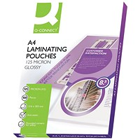 Q-Connect A4 Laminating Pouches, Medium, 250 Micron, Glossy, Pack of 100