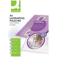 Q-Connect A4 Laminating Pouches, Medium, 250 Micron, Glossy, Pack of 25