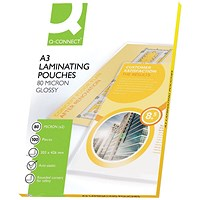 Q-Connect A3 Laminating Pouches, Thin, 160 Micron, Glossy, Pack of 100