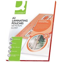 Q-Connect A3 Laminating Pouches, Medium, 200 Micron, Glossy, Pack of 100