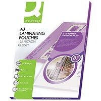 Q-Connect A3 Laminating Pouches, Medium, 250 Micron, Glossy, Pack of 100