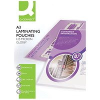 Q-Connect A3 Laminating Pouches, Medium, 250 Micron, Glossy, Pack of 25