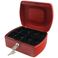 Q-Connect Cash Box 8 Inch - Red