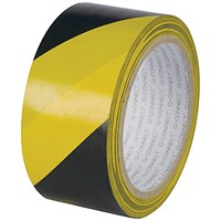 Q-Connect Hazard Tape, Yellow / Black, 48mm x 20m, Pack of 6