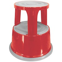 Q-Connect Metal Step Stool - Red