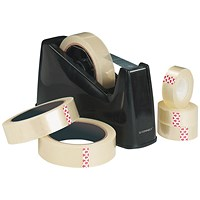 Q-Connect Desk Tape Dispenser For 33 and 66 Metre Tapes - Black