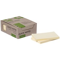 Q-Connect Recycled Notes 127x76mm Yellow (Pack of 12) KF17322
