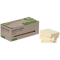 Q-Connect Recycled Notes 38x51mm Yellow (Pack of 12) KF17323