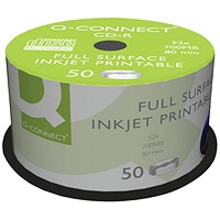 Q-Connect Inkjet Printable CD-R Discs 52x (Pack of 50)