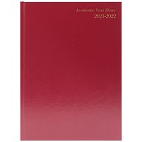 Academic Diary Day Per Page A4 Burgundy 2021-22