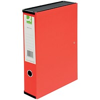 Q-Connect Box File, 75mm Spine, Foolscap, Red, Pack of 5