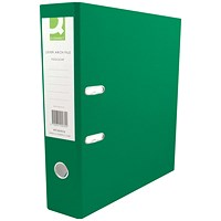 Q-Connect A4 Lever Arch Files, Plastic, Green, Pack of 10