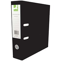 Q-Connect Foolscap Lever Arch Files, Plastic, Black, Pack of 10