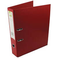 Q-Connect Foolscap Lever Arch Files, Plastic, Red, Pack of 10