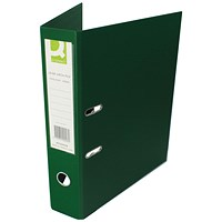 Q-Connect Foolscap Lever Arch Files, Plastic, Green, Pack of 10