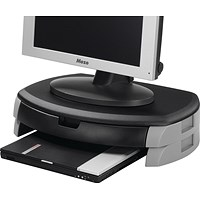 Q-Connect Monitor/Printer Stand with Drawer - Black