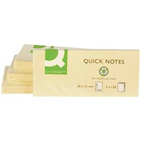 Q-Connect Recycled Quick Notes 38 x 51mm Yellow (Pack of 12) KF22367