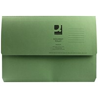 Q-Connect Document Wallets, 285gsm, Foolscap, Green, Pack of 50