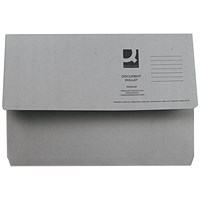 Q-Connect Document Wallets, 285gsm, Foolscap, Grey, Pack of 50