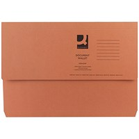Q-Connect Document Wallets, 285gsm, Foolscap, Orange, Pack of 50