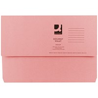 Q-Connect Document Wallets, 285gsm, Foolscap, Pink, Pack of 50