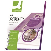Q-Connect A4 Laminating Pouches, Medium, 250 Micron, Matt Finish, Pack of 100