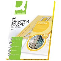 Q-Connect A4 Laminating Pouches, Thin, 160 Micron, Matt Finish, Pack of 100