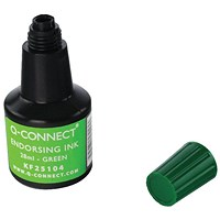 Q-Connect Endorsing Ink 28ml Green (Pack of 10)