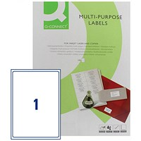 Q-Connect Multi-Purpose Label, 199.6x289mm, 1 per Sheet, Pack of 100 Sheets